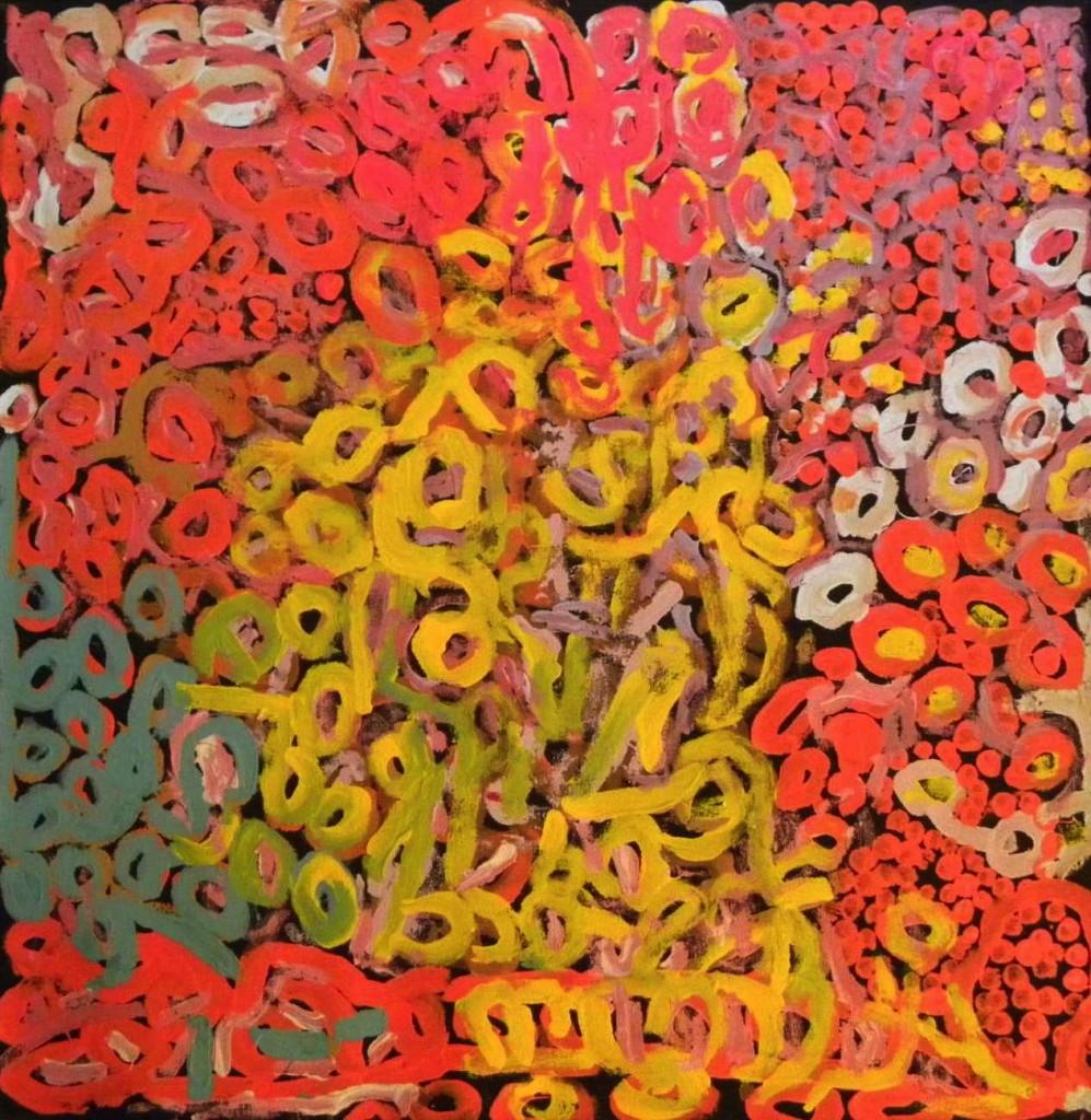Tjapartji Bates - Kungkarangkalpa (Seven Sisters Dreaming), 2010<br />76.2 x 76.2 cm - Acrylic on canvas