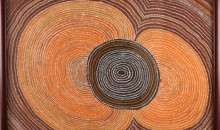 "Shorty Lungkata Tjungurrayi, Pattern in Sand, 1980. Acrylic on canvas, 24"" x 26"". © 2012 Aboriginal Artists Agency, Australia."