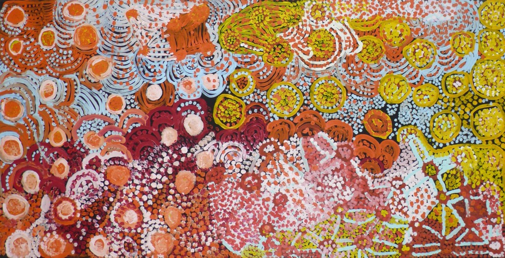 Carol Maayatja Golding - Tjukurla Pirni, 2010 - 76.2 x 152.4cm - Acrylic on canvas - Provenance: Warakurna Artists, WA ; Exhibited in 2010 Telstra National Aboriginal and Torres Strait Islander Art Award (NATSIAAA), Museums and Art Galleries of the Northern Territory, Darwin ; IDAIA - International Development for Australian Indigenous Art; Private Collection Brocard-Estrangin.