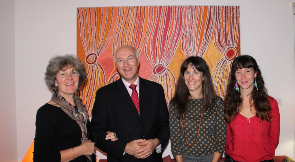 Exhibition at the Consul-General of France's residence  From left to right: Madeleine and Eric Berti, Consul-General of France in Sydney ; Solenne Ducos-Lamotte, IDAIA's Director ; Alexiane Henry, Art Administrator and Curator.