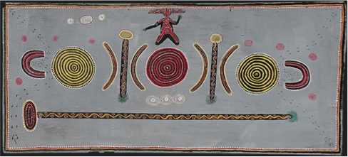 Fig.2  Kaapa Tjampitjinpa (Anmatyerr/Warlpiri c.1925-1989), Men's Ceremony for the Kangaroo, Gulgardi, 1971  Watercolour on polywood  61.0 x 137.0 cm  © Artists and their estates 2011, licensed by Aboriginal Artists Agency Limited and Papunya Tula Artists