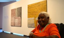 Image: Artist Lena Nyadbi at the exhibition Gija Manambarram Jimerawoon.
