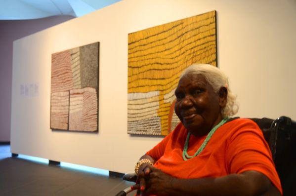 Image: Artist Lena Nyadbi at the exhibition Gija Manambarram Jimerawoon - © Jonathan Kimberley – Warmun Art Centre, 2013