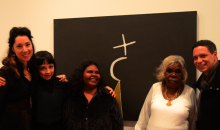 Curators Joanna Bosse and Suzette Wearne, artists Roseleen Park and Mabel Juli and Daniel Browning of the ABC AWAYE program at the Kate Challis RAKA Awards last night at Ian Potter Museum of Art. © Courtesy the artist and Warmun Art Centre