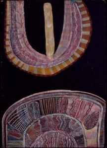 Mick Namarari Tjapaltjarri (c. 1926-1998) Pintupi. Big Cave Dreaming with Ceremonial Object, 1972