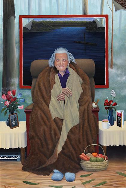 Ray Thomas (Brabrawooloong Gunnai, Kirrae-wuurung, Djadjawali), 'A Gunnai Elder – Mum Alice' 2013, oils on canvas, 149cm x 99 cm.