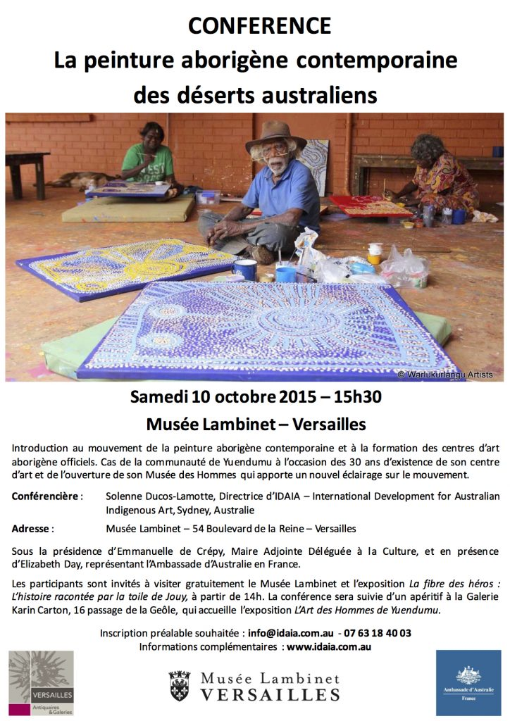 Poster Conference 10 octobre 2015 - Musee Lambinet Versailles © IDAIA - Photo Warlukurlangu Artists with the authorisation of the artist's family