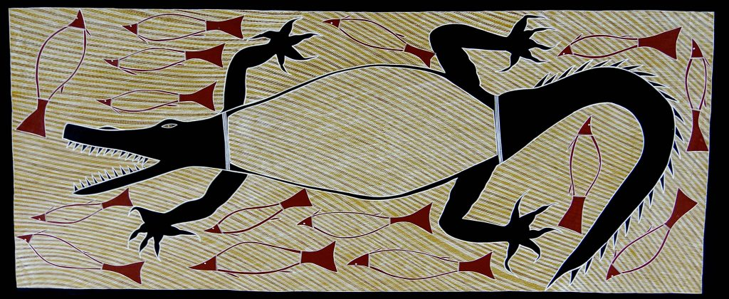 "Billy Durbuma Black – ""Baru Dhawu (Crocodile Story)"", 2015 – 81 x 198 cm – Acrylic on canvas © The Artist – Photo courtesy Bula Bula Arts"