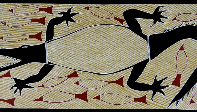 "1484-15 Billy Durbuma Black - ""Baru Dhawu (Crocodile Story)"", 2015 - 81 x 198 cm_LARGE"