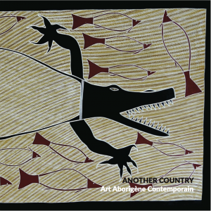 "Cover of exhibition catalogue ""Another Country – Art Aborigène Contemporain"" © IDAIA - Artwork: Billy Durbuma Black – ""Baru Dhawu (Crocodile Story)"", 2015 – 81 x 198 cm – Acrylic on canvas © The Artist"
