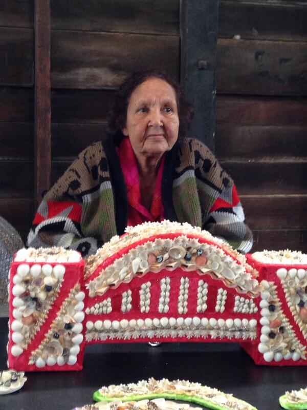 Esme Timbery with her shell artworks - Photo © IndigenousX 2013