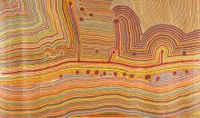 Martulimi Artists, Martumili Ngurra, 2009, acrylic on linen, 509 x 320 cm. Courtesy National Museum of Australia, Canberra, Australia