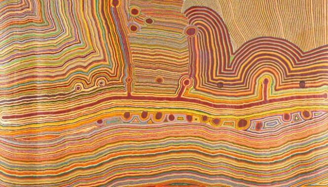 Martulimi Artists, Martumili Ngurra, 2009, acrylic on linen, 509 x 320 cm. Courtesy National Museum of Australia, Canberra, Australia