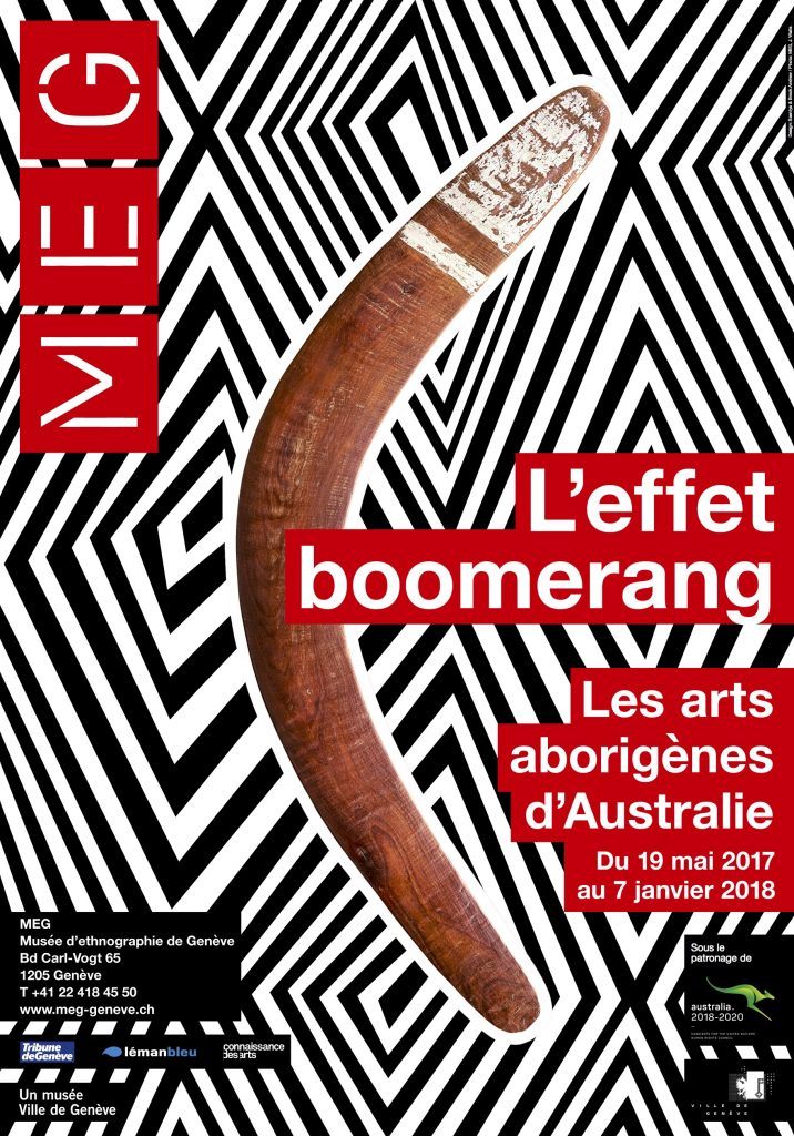 Poster of exhibition The Boomerang Effect - Affiche de l'exposition L'Effet-boomerang © MEG - Design Saentys & Brook Andrew - Photo J.Watts
