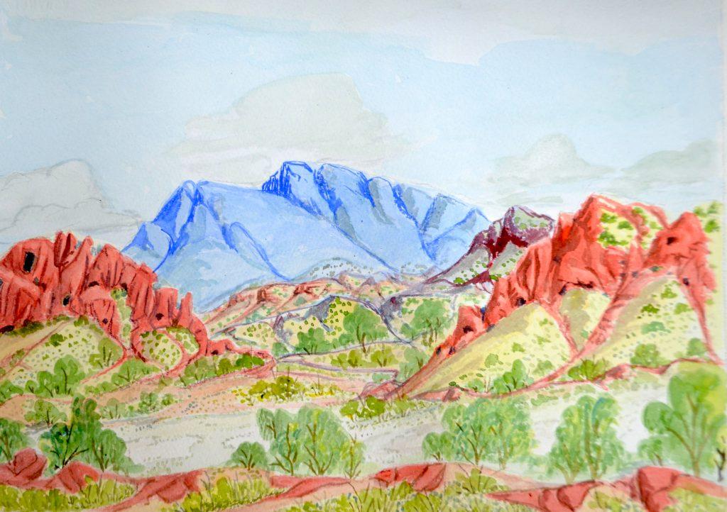 "Kumantjai L Namatjira Lankin - ""West MacDonnell Ranges, west from Papunya"", 2015 - 26 x 36 cm - Watercolour on paper © The Artist - Courtesy Iltja Ntjarra Art Centre"