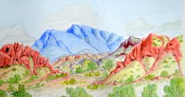 Lenie Namatjira Lankin - West MacDonnell Ranges west from Papunya - 26 x 36 cm - Watercolour Paper 82-15 - Large