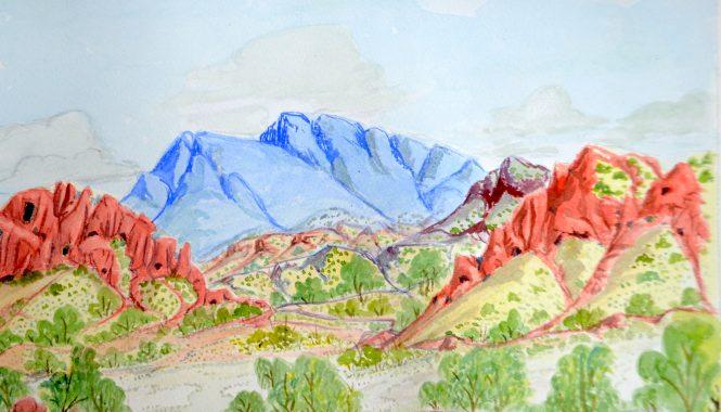 Lenie Namatjira Lankin - West MacDonnell Ranges west from Papunya - 26 x 36 cm - Watercolour Paper 82-15 - Large