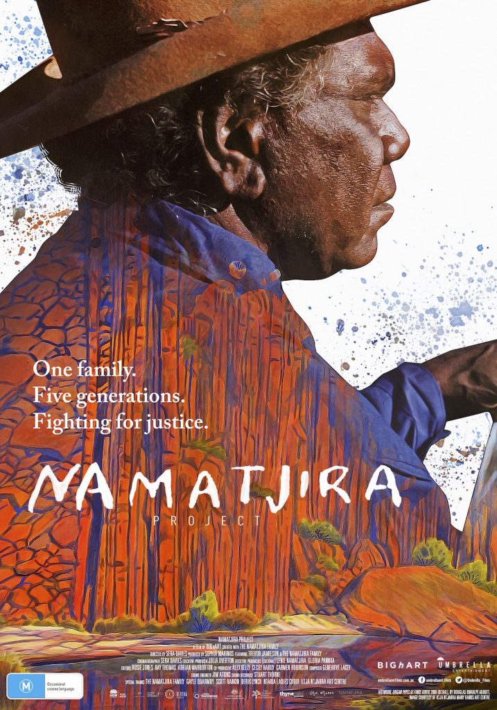 Poster of film Namatjira Project © Big hART; Artwork: Douglas Kwarlpe Abbott - Organ Pipes at Finke River, 2009 - Courtesy Iltja Ntjarra Art Centre