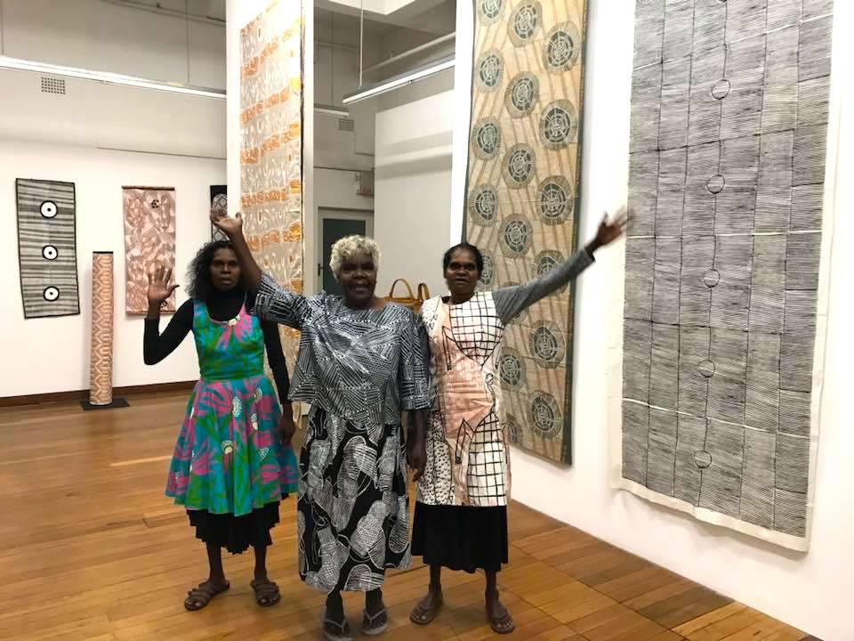 Artists Deborah Wurrkidj, Janet Marawarr and Jennifer Wurrkidj © Babbarra Women's Centre