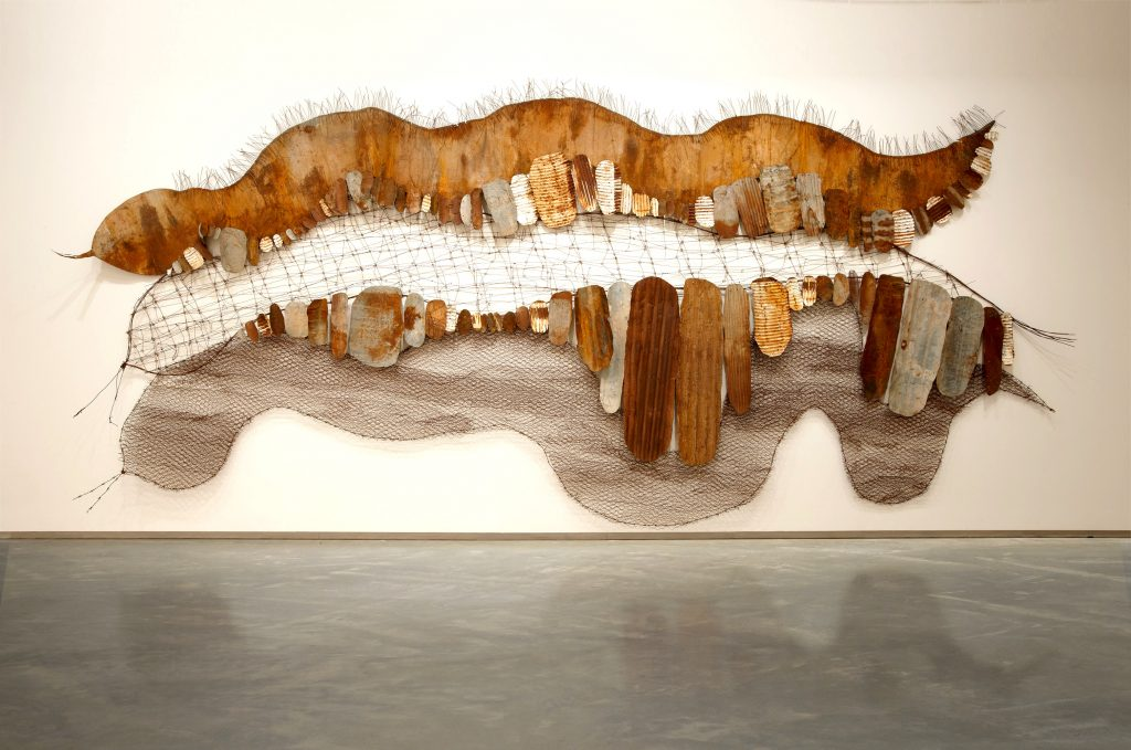 Lorraine Connelly-Northey, Three rivers country, 2010. Corrugated iron, tin, mesh, wire. Museum of Contemporary Art, purchased with funds provided by the Coe and Mordant families, 2010. Image courtesy and © the artist.