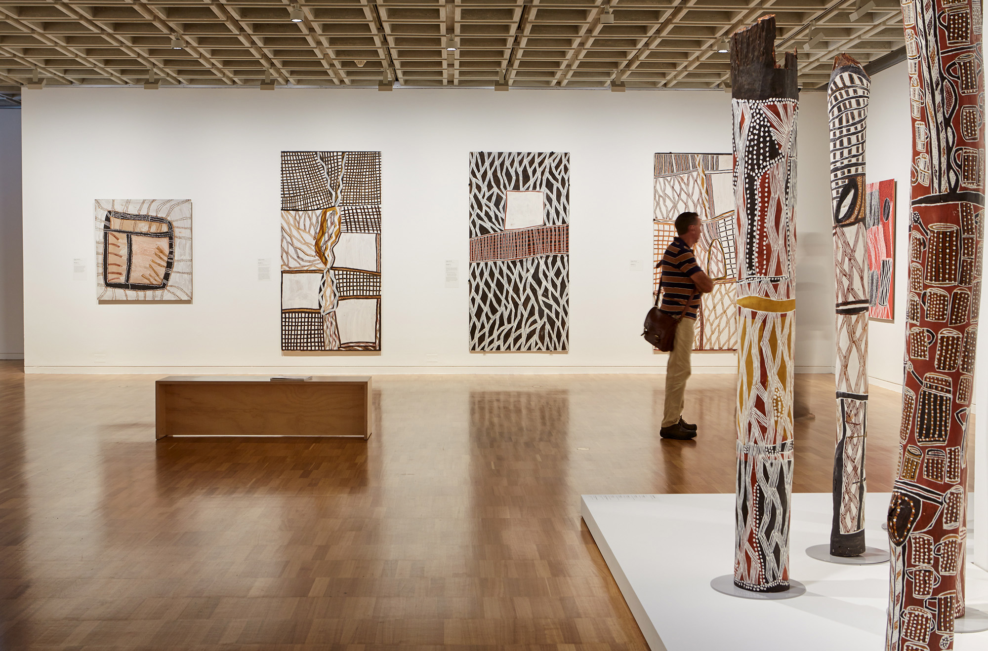 "Installation view of Noŋgirrŋa Marawili's ""From My Heart and Mind"" at the Art Gallery of New South Wales, Photo courtesy the Art Gallery of New South Wales."