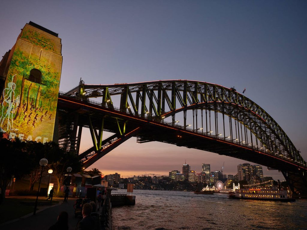 'Eora: Broken Spear' projection on the Sydney Harbour Bridge, by Rhoda Robert OAM and The Electric Canvas - Photo Vivid Sydney