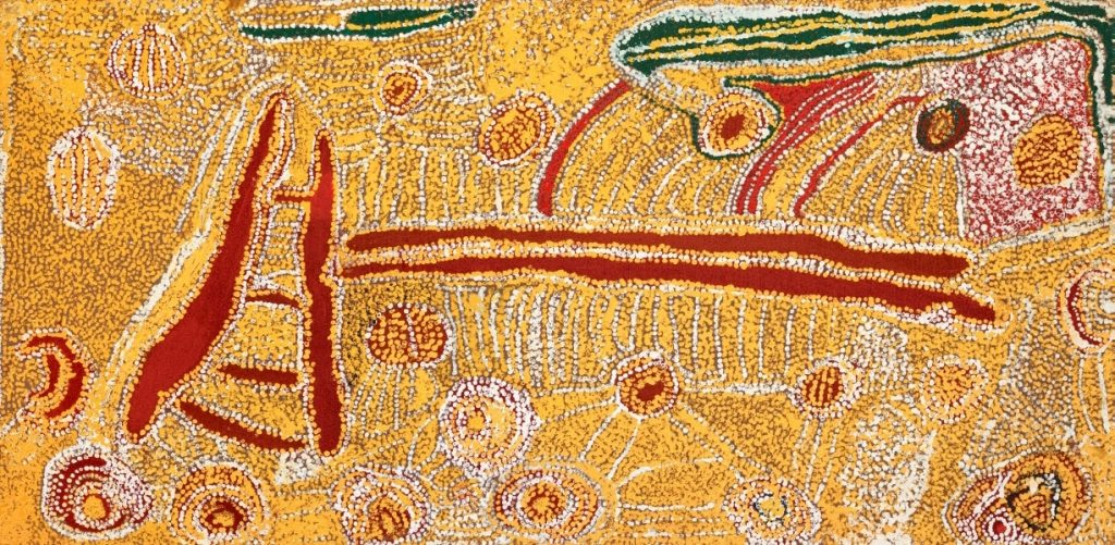 Eubena Nampitjin, 'Kinyu' (1991), Acrylic on canvas, Art Gallery of New South Wales © Estate of Eubena Nampitjin - Licensed by Copyright Agency