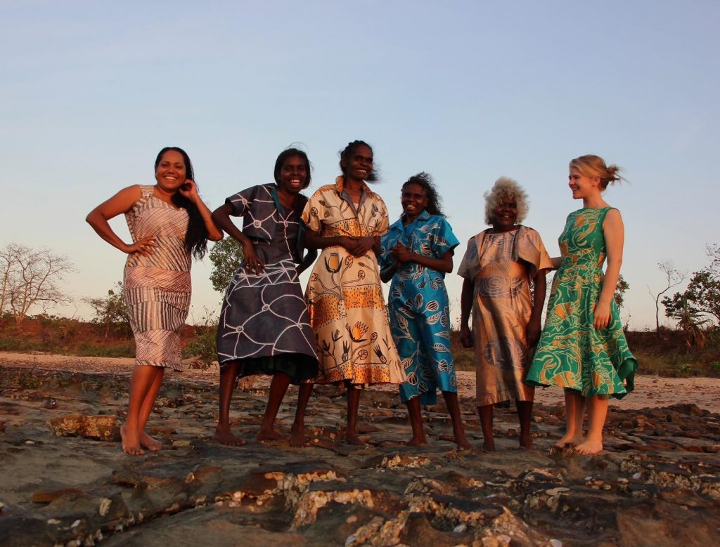 Image: L-R Jessica Phillips, Jactina Lami Lami, Jennifer Wurrkidj, Deborah Wurrkidj, Janet Marawarr, Ingrid Johanson. Image courtesy of Babbarra Women's Centre.