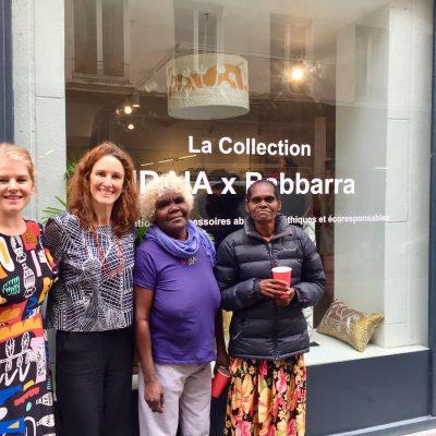 Ingrid Johanson, Solenne Ducos-Lamotte, Janet Marawarr and Jennifer Wurrkidj - Launching the IDAIA x Babbarra Collection at Bliss Studio Paris © Photo IDAIA