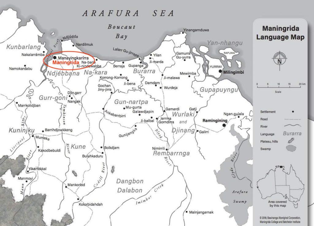 Maningrida Language Map © Bawinanga Aboriginal Corporation, Maningrida College and Batchelor Institute