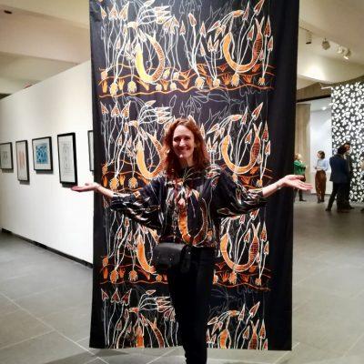 Solenne Ducos-Lamotte at exhibition 'Jarracharra - Dry season wind : Les vents de la saison sèche' at the Australian Embassy Paris - Photo Ollia Horton