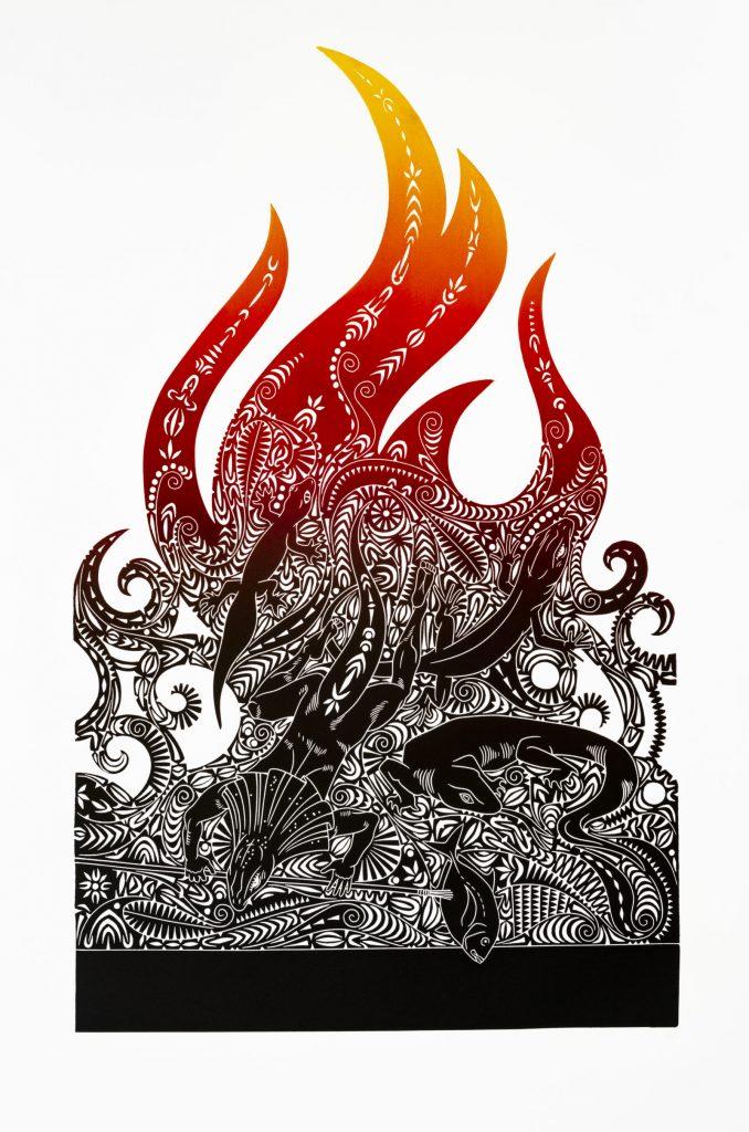 "Brian Robinson, ""Walek, the bringer of fire"", linocut © The Artist"