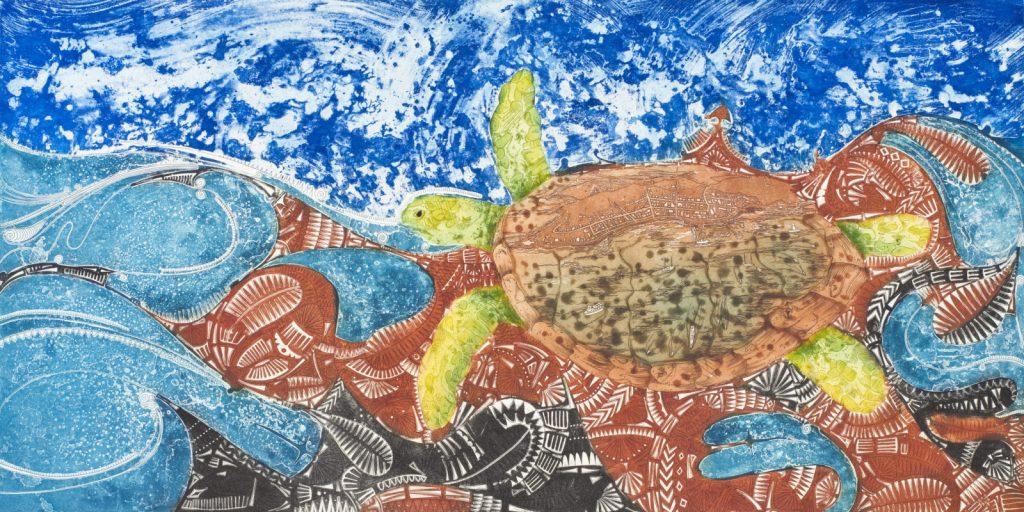 "Brian Robinson ""Waterworld of Waiben where warual swim through"", 2013, ink on paper © The Artist"