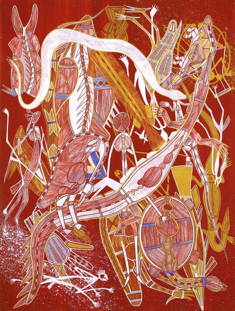 Gabriel Maralngurra -Kunwardde Bim Kakukyime (Rock Art Style), 2019 - Natural pigments and Reckitt's Blue on paper - Kluge-Ruhe Aboriginal Art Collection of the University of Virginia © The Artist