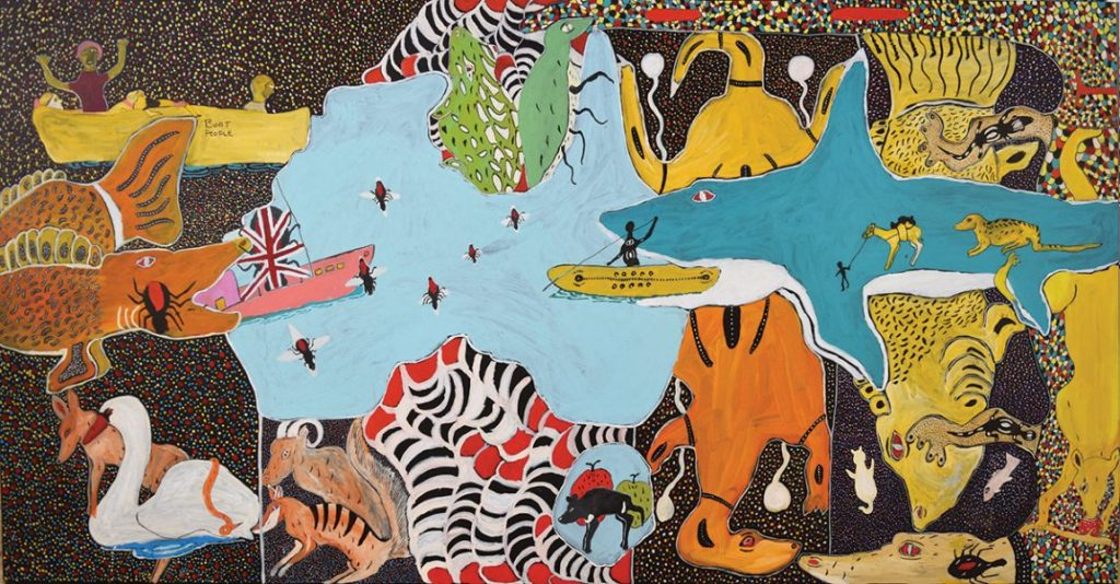 John Prince Siddon, Australia Mix it All Up, 2019, acrylic on canvas, 240 x 120 cm. Courtesy of the artist.