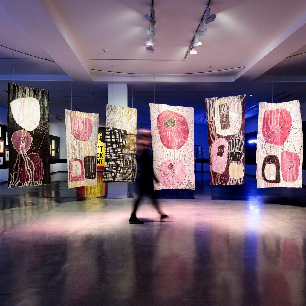 Nongirrna Marawili, installation view, 22nd Biennale of Sydney - NIRIN, Museum of Contemporary Art Australia, Sydney, 2020, image courtesy the artist and Museum of Contemporary Art Australia © the artist, photograph: Ken Leanfore.