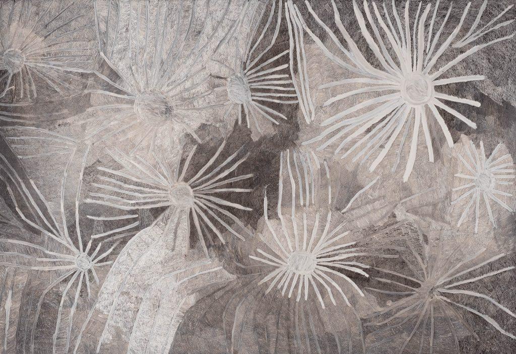 Nyapanyapa Yunupiŋu, Ganyu (Stars) 2019 (detail), 241.0 x 363.2 x 6.0 cm, earth pigment on compressed fibre board, 4K digital video projection. Courtesy of Buku-Larrŋgay Mulka Centre. Kerry Stokes Collection, Perth.