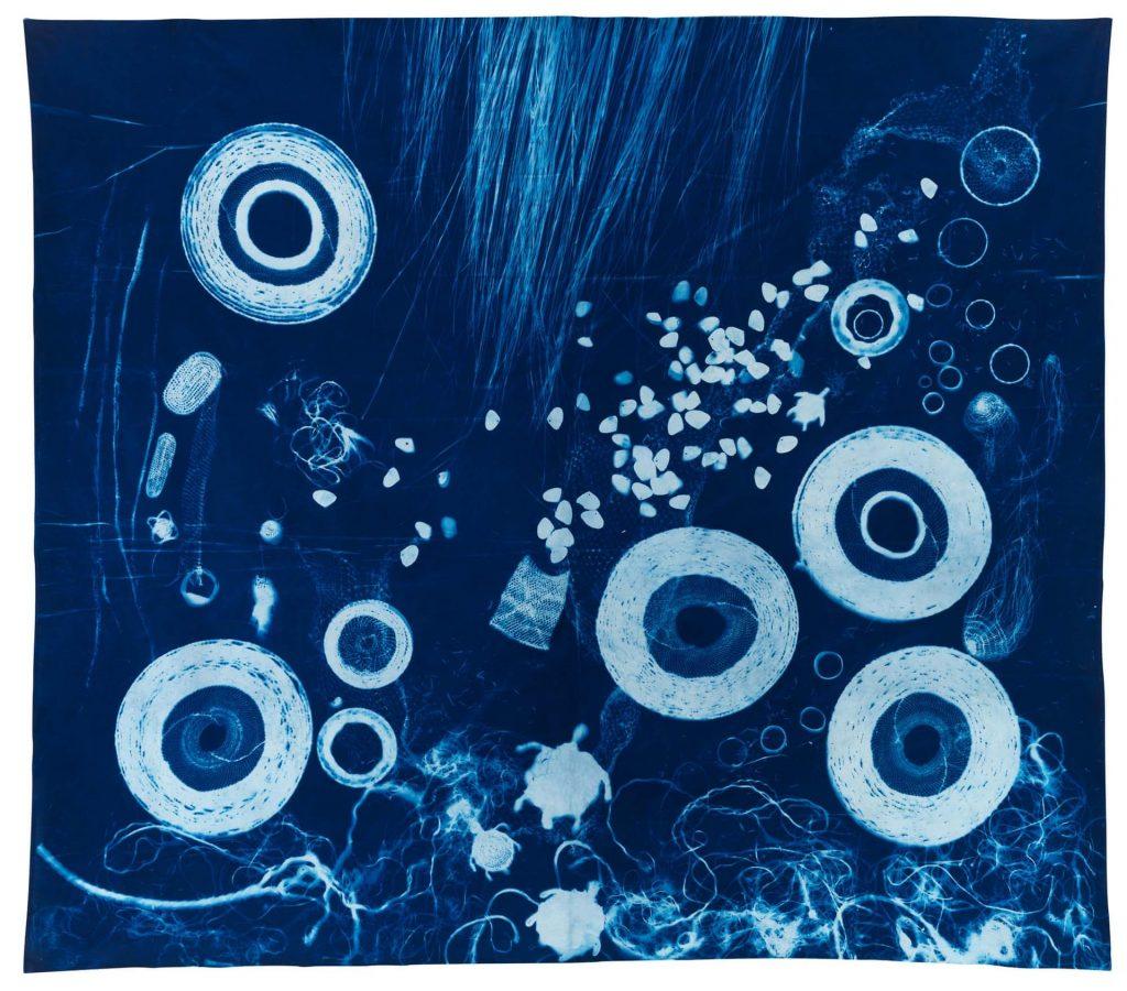 Sonja Carmichael, Ngugi/Quandamooka people, South East Queensland, born 1958, Brisbane, Elisa Jane Carmichael, Ngugi/Quandamooka people, South East Queensland, born 1987, Brisbane, Yagabili wunjayi (make today), 2019, Minjerribah (North Stradbroke Island), Queensland, cyanotype on cotton, 240.0 x 270.0 cm; Courtesy the artists and Onespace Gallery, © Elisa Jane and Sonja Carmichael/Onespace Gallery, photo: Grant Hancock.